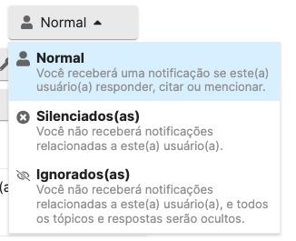notificações e visibilidade de usuário